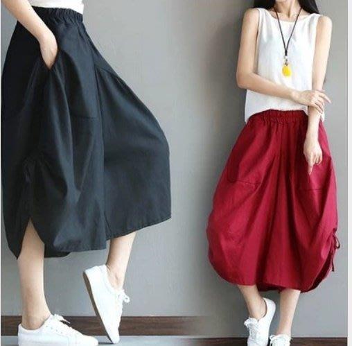 七分棉麻褲 休閒寬鬆中大尺碼 寬褲裙 七分寬褲 休閒褲裙 八色 現貨