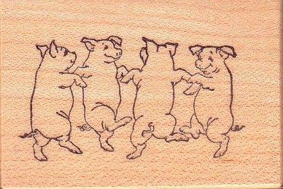 陽光一品DIY卡片印章專賣店~~PSX印章--跳舞的小豬--#D776#~~美國製絕版品