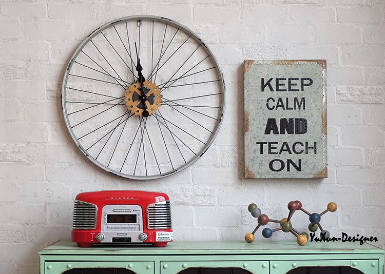 自行車造型車輪掛鐘 60CM 自行車腳踏車 美式復古仿舊鄉村風田園風格 單車輪子輪胎鋁圈 宥薰設計家