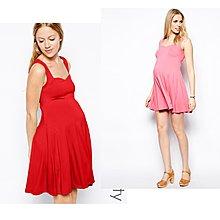 (嫻嫻屋) 英國ASOS 甜美孕媽咪 紅色簡約實穿心型領口圓裙洋裝 現貨UK12 孕婦裝 Maternity