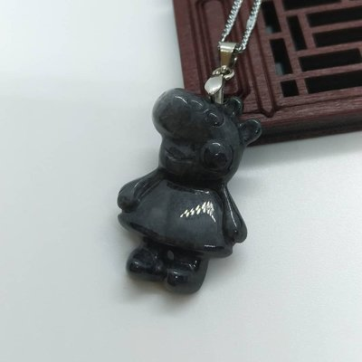 粉紅豬小妹 緬甸翡翠連925銀鏈Natural Myanmar jade silver 925 peppa pig necklace