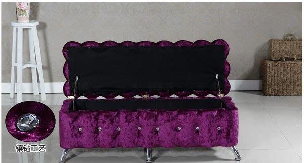 粉紅玫瑰精品屋~歐式水晶換鞋椅時尚收納椅沙發椅~現貨+預購