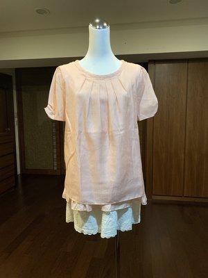 23區 短袖雪紡粉橘色上衣 size 40