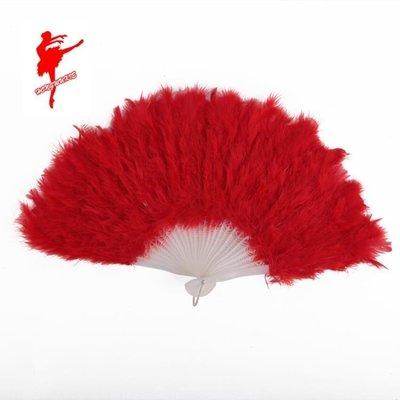 【羅密歐】2019新品紅舞鞋9030 舞蹈道具 亮片扇子絲綢表演扇子 民族舞道具羽毛扇