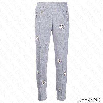 【WEEKEND】 AREA 水晶 合身 窄管 休閒 運動 長褲 棉褲 灰色 19秋冬