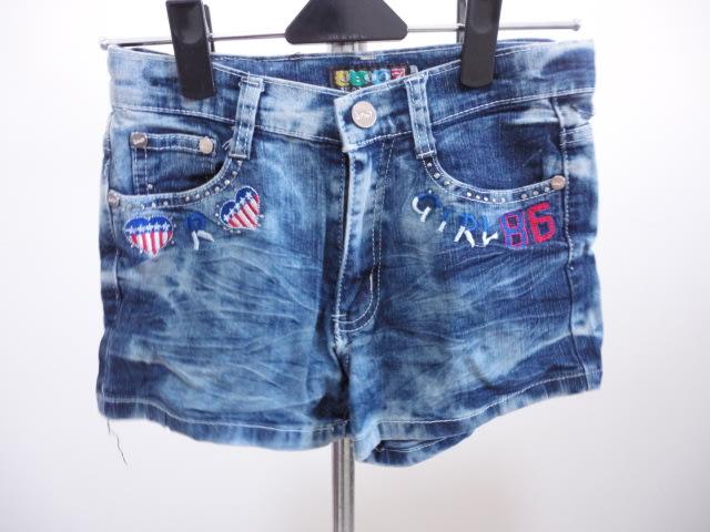 99元起標~繡圖牛仔短褲~藍色~SIZE:19