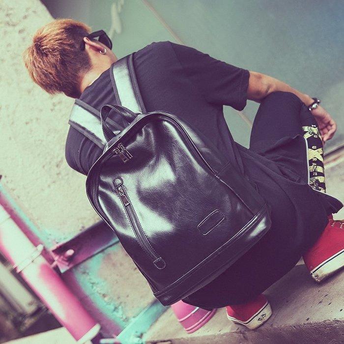 爆款-新款韓版男士小背包潮包休閑簡約復古雙肩包中學生書包PU皮旅行包-禧禧雜貨店