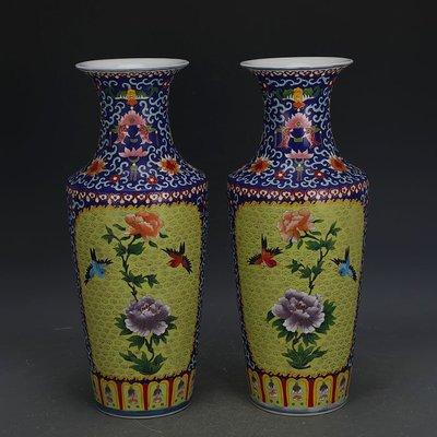 ㊣姥姥的寶藏㊣ 大清乾隆琺瑯彩掐絲花鳥棒槌瓶一對  官窯回流古瓷器古玩古董收藏