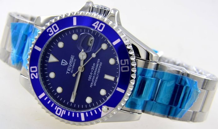 (六四三精品)錶徑4.0公分.藍面鬼王.不鏽鋼錶殼及錶帶,自動上鍊機械機芯!