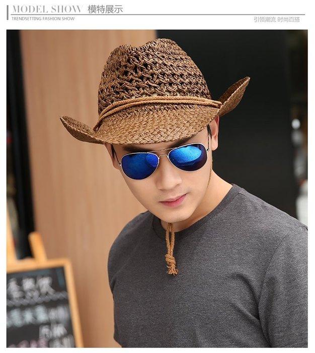 【二鹿帽飾】頂級拉拉草/ 皮繩滾邊 牛仔裸空翹尾帽/ 西部帽/ 狩獵帽/表演帽 -深咖啡