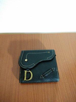 早期摩登時代 美好時光 Christian Dior 馬鞍造型 短夾 零錢包 CD 真皮 古著 皮夾