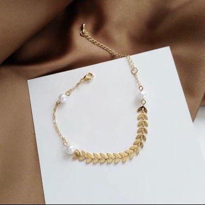 戒情人💕氣質 葉子 珍珠 造型 手鍊 金色 百搭 韓版 韓妞