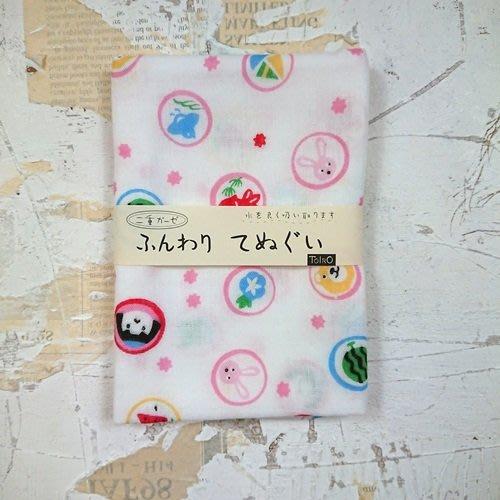 《散步生活雜貨-和雜貨散步》日本製 山本仁商店 雙層紗布織 100%棉 糖果圖案 日式毛巾 手帕-兩色選擇