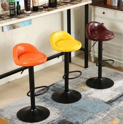 簡約吧臺椅升降椅美式家用高腳凳子鐵藝吧凳前臺收銀旋轉酒吧椅子