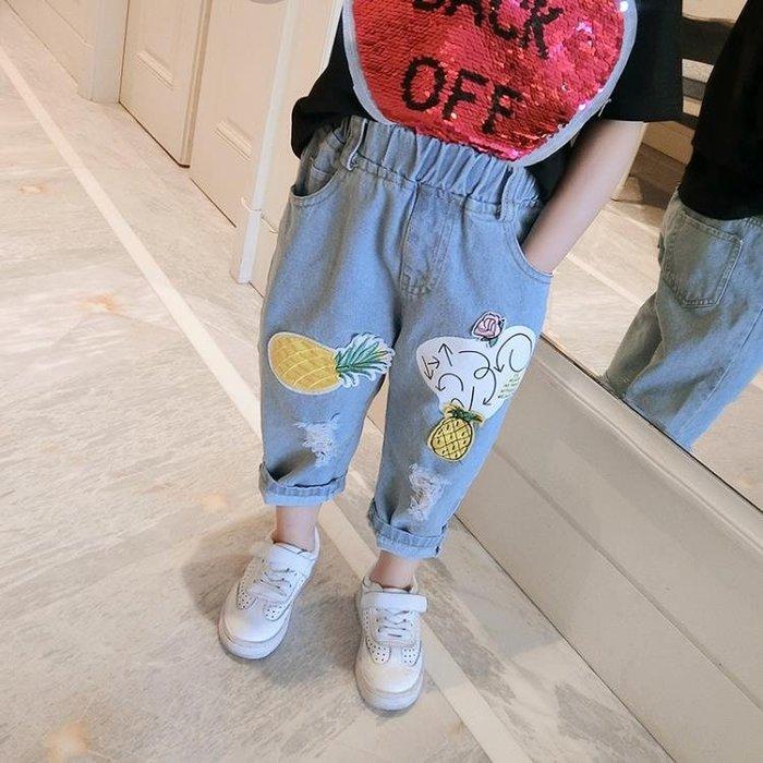 童裝夏裝2018韓國新品女童牛仔褲寶寶薄款寬鬆褲洋氣兒童九分褲子