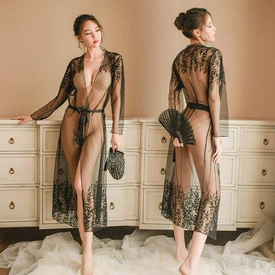 性感情趣扮演制服三點式開檔透視睡衣外罩...