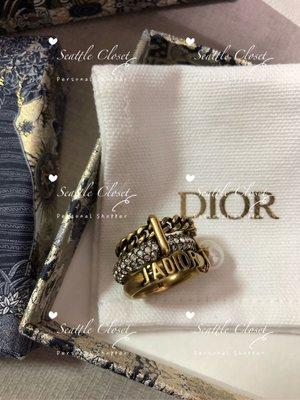 西雅圖的衣櫃Dior全新J'ADIOR真品復古金三環小水鑽戒指/美國預購