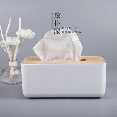 【優上】歐式紙巾盒餐巾紙抽盒 客廳車用抽紙盒橡木製蓋子「橡木+亞克力紙巾盒」