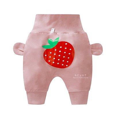 【媽媽倉庫】 休閒高腰護肚哈倫褲 粉色草莓 褲子 童裝