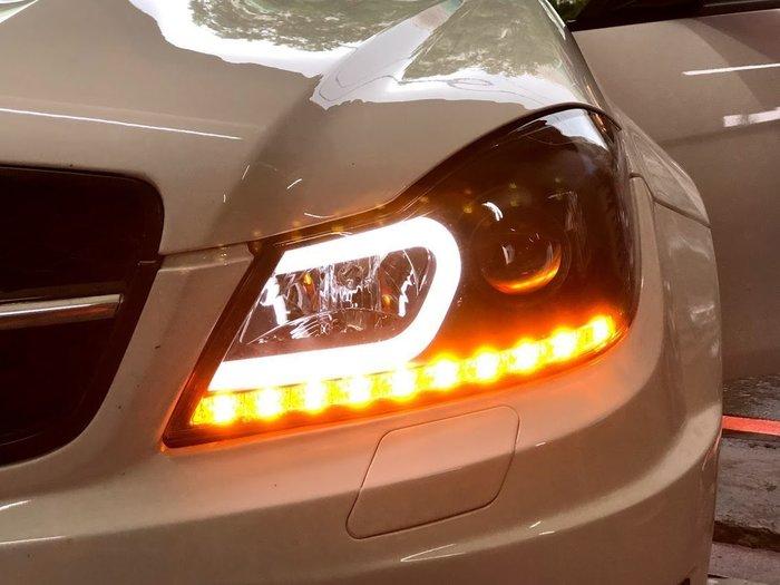 ☆雙魚座〃汽車精品〃benz w204 2012 c300 c200小改款專用黑框c型光柱+led方向燈魚眼大燈