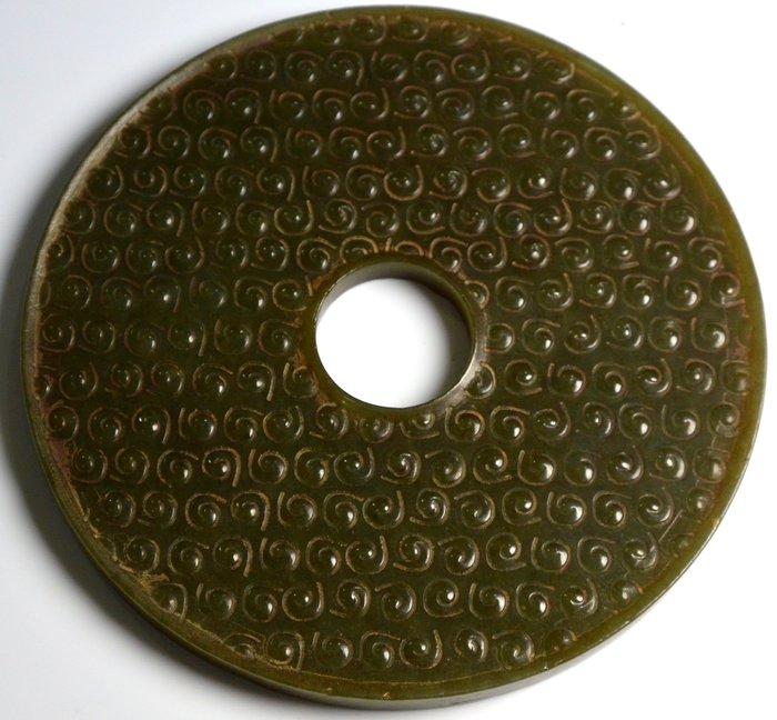 [天地居] 戰國 和闐穀紋玉璧 雙面雕工 0619