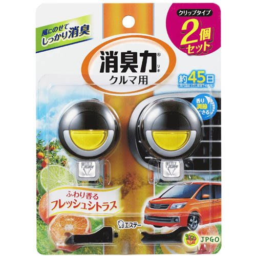 【JPGO日本購】日本進口 ST雞仔牌 車用消臭力 夾式芳香消臭劑 約45日 3.2mlx2入~柑橘#341