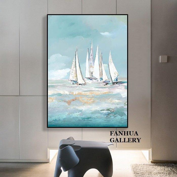 C - R - A - Z - Y - T - O - W - N 純手繪立體筆觸油畫一帆風順抽象藝術油畫招財風水帆船抽象手繪油畫裝飾畫凹凸觸感高檔收藏油畫畫