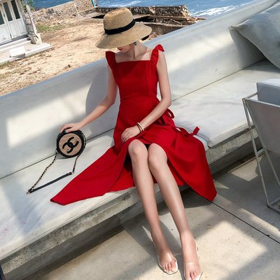 【Strawberry】2019馬爾代夫泰國海島沙灘裙海邊度假露背吊帶裙性感開叉露腰長裙