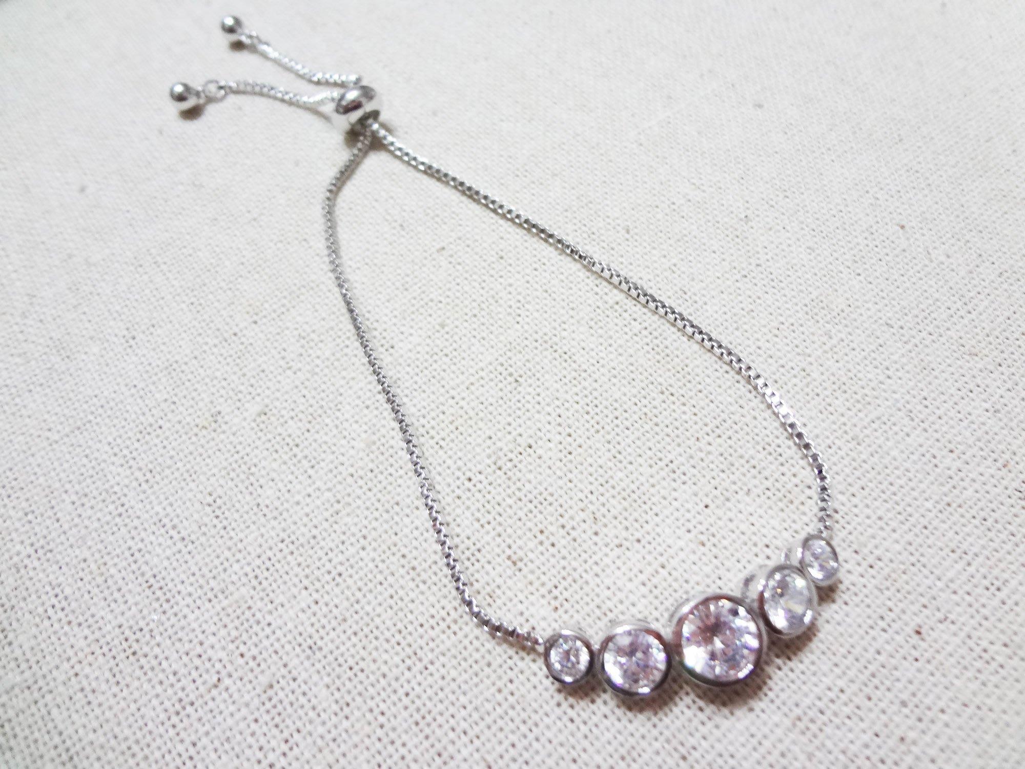 【Love Trina】8110-0221 簡約幾何圓形亮鑽可調式伸縮手鍊。可調式手鍊-(銀色)