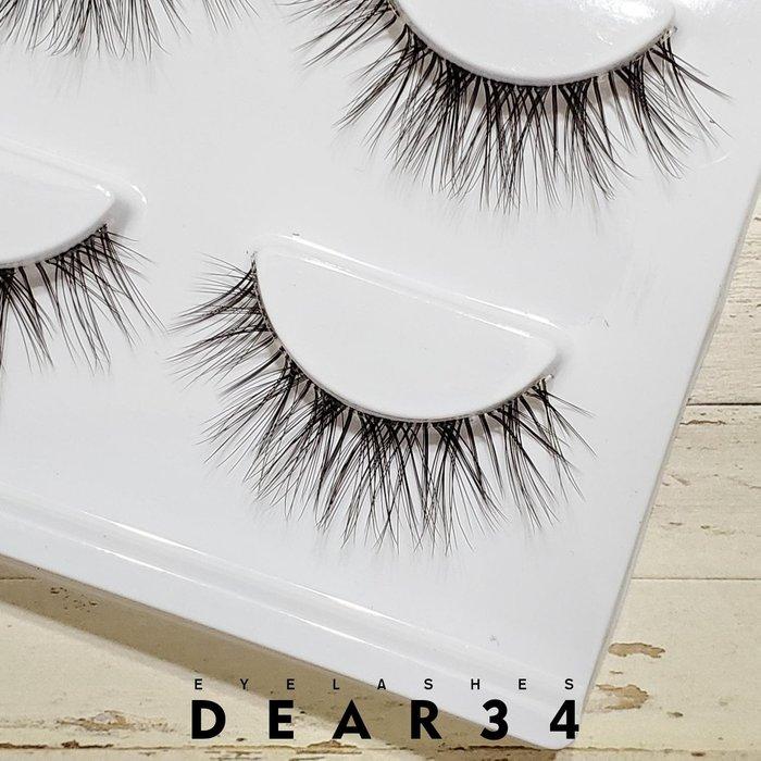 《Dear34》3D立體款S011透明扁梗眼中長自然凌亂交叉 一盒三對價