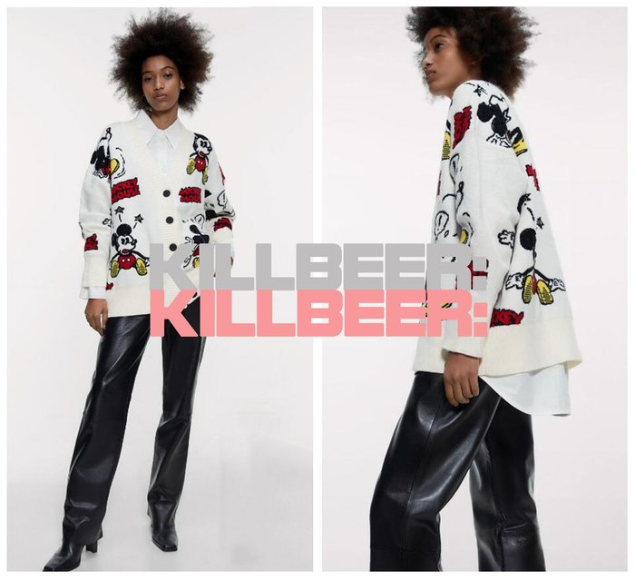 KillBeer:貪心女孩的新風格之 歐美復古童趣卡通DISNEY合作款米奇米老鼠印花刺繡學院風針織外套010707