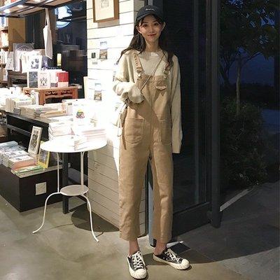 網紅背帶褲森女系顯瘦春裝新款韓版復古學生牛仔怪味少女褲子
