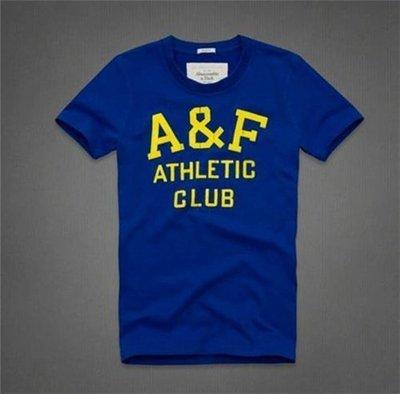 美國AMPM 【現貨 #T42】AF / A&F 男版 Jay Range 亮眼絨印質感圓領短T寶藍色 / S號