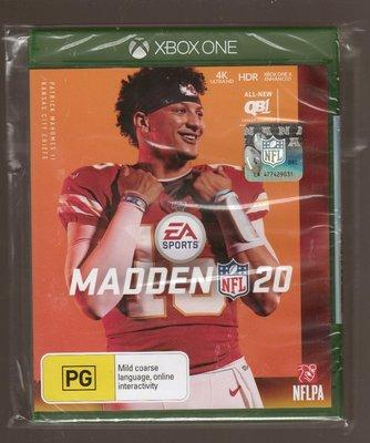全新XBOX ONE原版片 英文版 勁爆美式足20 Madden 20 NFL 20
