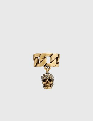 Alexander McQueen Chain Ear Cuff with Pave Skull 密鑲 耳鏈 骷髏 金屬配件 義大利製