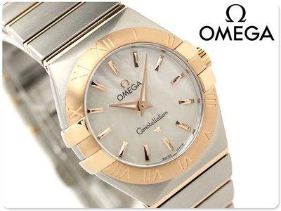 OMEGA 歐米茄 手錶 CONSTELLATION 星座 27mm 18k紅金 珍珠貝殼面盤 藍寶石 女錶 123.20.27.60.05.001