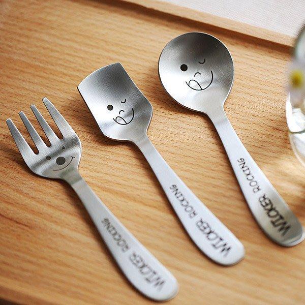 【愛麗絲生活家飾雜貨】zakka韓國高檔不銹鋼兒童笑臉圓勺/方勺/叉子共3款兒童餐具