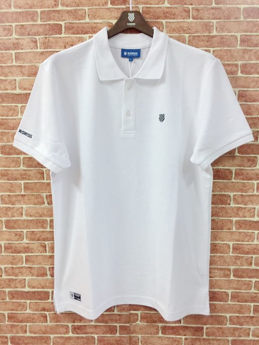 DIBO弟寶-免運 現貨 K SWISS 蓋世威 男生 短袖POLO衫 純棉質 盾牌繡標-白-有大尺碼.衣服