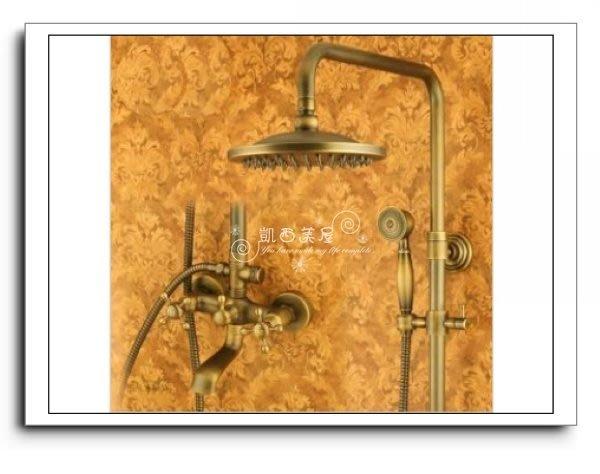 凱西美屋 特價促銷復古淋浴花灑套裝A款 下出水龍頭 古典淋浴蓮蓬頭 全銅古典蓮蓬頭