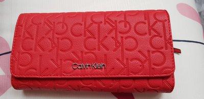 CK 正品現貨---Calvin Klein女用紅色長皮夾