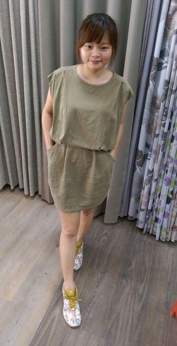 全新現貨 MADE IN KOREA 韓國帶回 橄欖綠亞麻連身裙