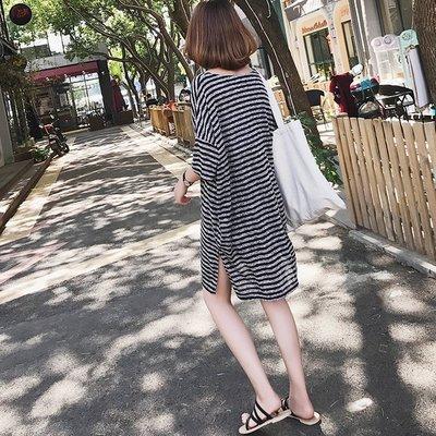 寬鬆條紋連身裙 春夏女裝