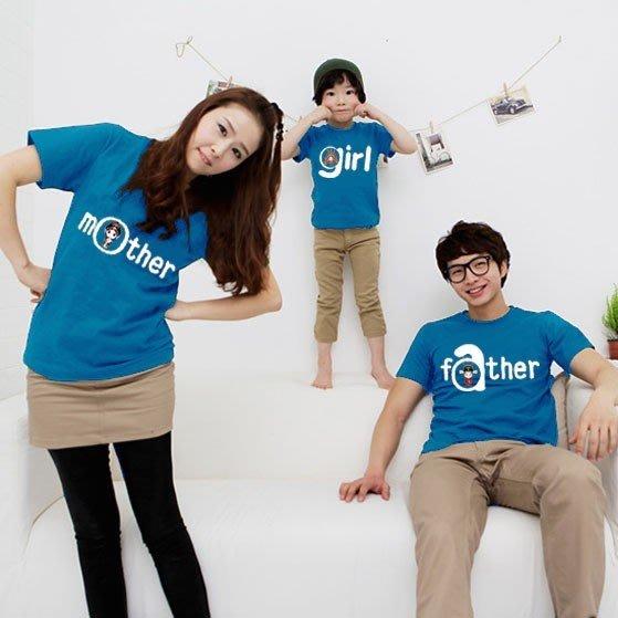 【零碼出清。恕不退換】韓版《我的一家-紅/藍》短袖親子裝♥情侶裝CP-S38