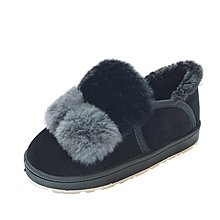 2018韓版冬季雪地鞋面包鞋女百搭學生加絨保暖毛毛鞋懶人平底棉鞋