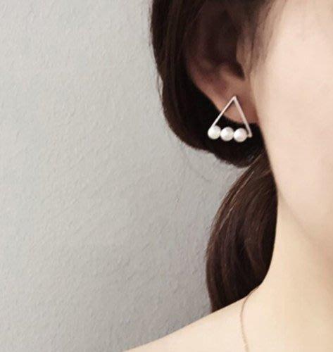 ~Köp Köp~  甜美三角形925純銀韓國珍珠耳環飾品 ~ 圖片款~