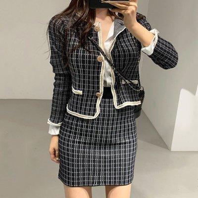 小香風~針織格子兩件式套裝 【AAE0106】