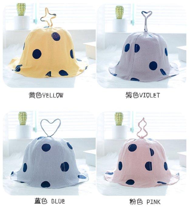 現貨~(1-3歲)童帽潮時尚圓點純色寶寶盆帽可折疊百搭漁夫帽春秋兒童戶外遮陽帽(藍色/粉色/紫色/灰色)
