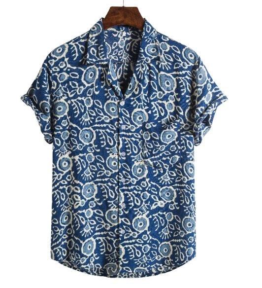 FINDSENSE X  男士 薄款 棉麻 西裝領 短袖 上衣 案襯衣 休閒 襯衫防曬上衣