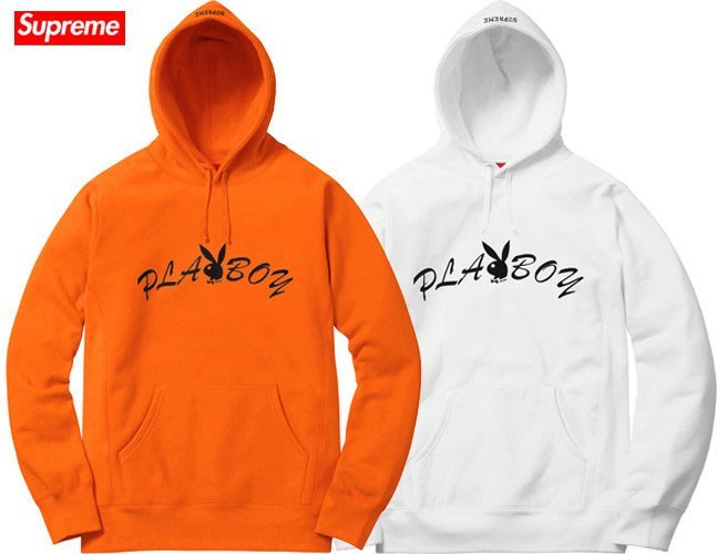 【超搶手】全新正品 2017 Supreme x Playboy Hooded Sweatshirt 連身帽T 橘色S