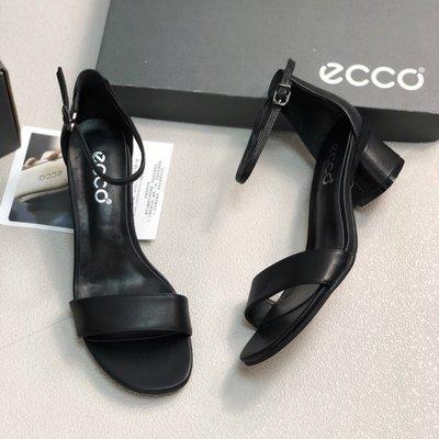 ECCO 2020新款一字帶職業高跟鞋簡約百搭粗跟涼鞋 黑色 35-40碼 台北市
